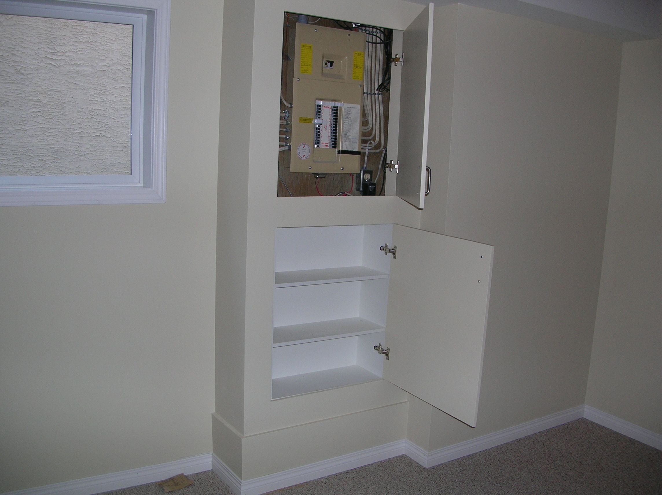 House Fuse Box Cover Ideas : Good idea to hide the electric box basement and laundry