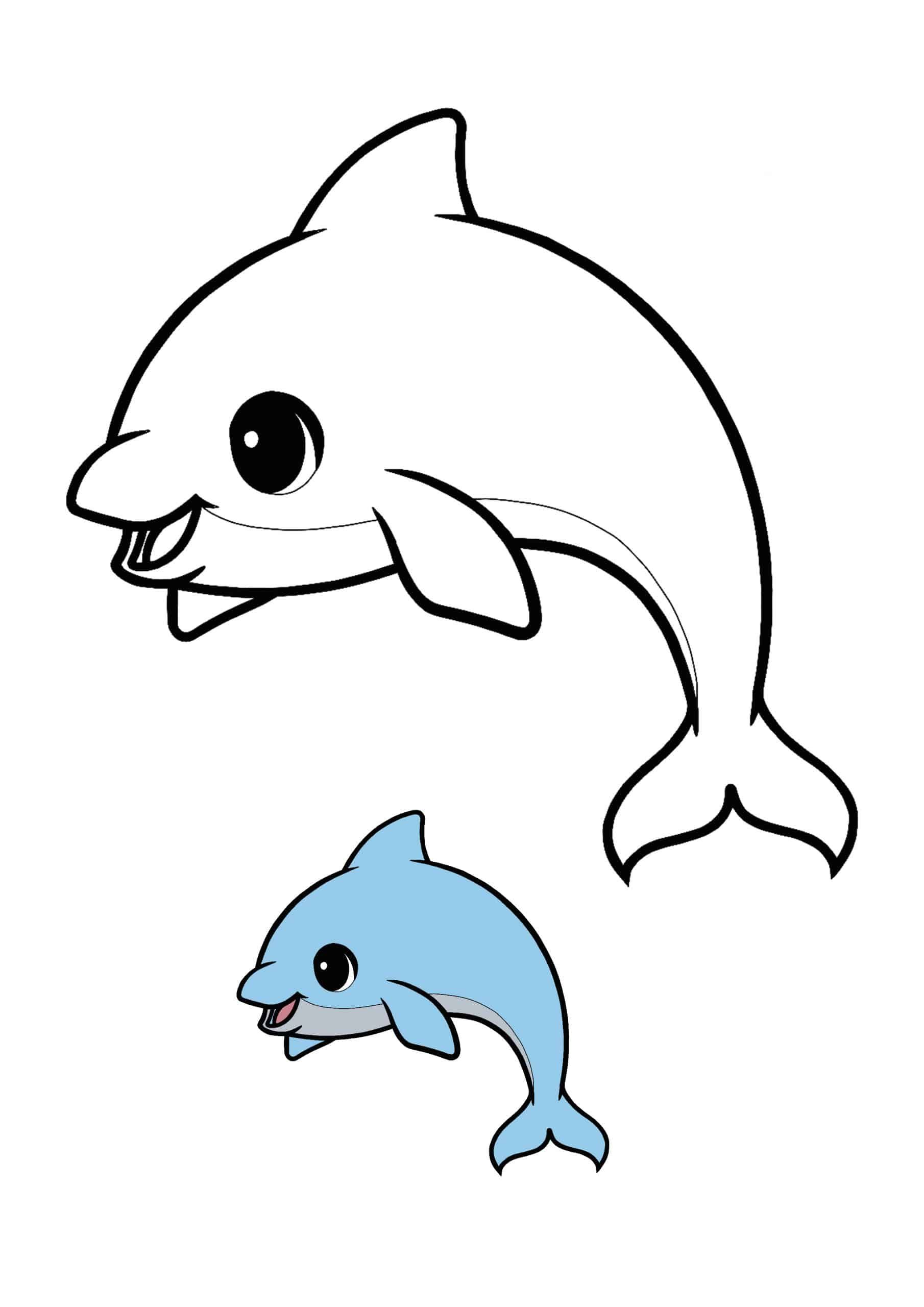 Kawaii Dolphin Easy Coloring Page Dolphin Coloring Pages Coloring Pages Chibi Spiderman