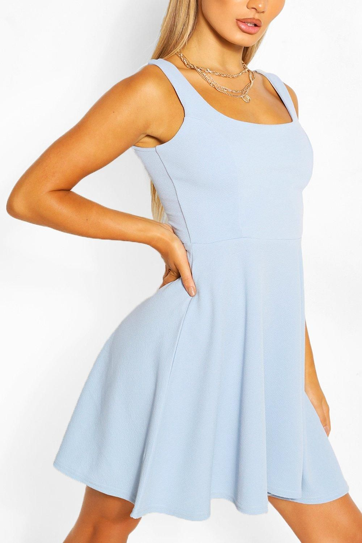 Strappy Skater Dress Boohoo In 2021 Blue Dress Short Simple Summer Dresses Skater Dress [ 1500 x 1000 Pixel ]