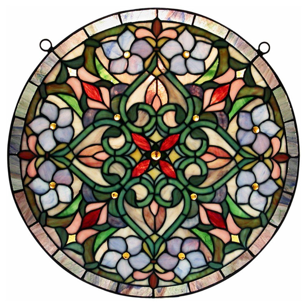 Tiffany Hanging Round Window Panel - Give your living room a colorful point of interest. With a delicate interweaving design, this panel is constructed of more than 200 pieces of glass