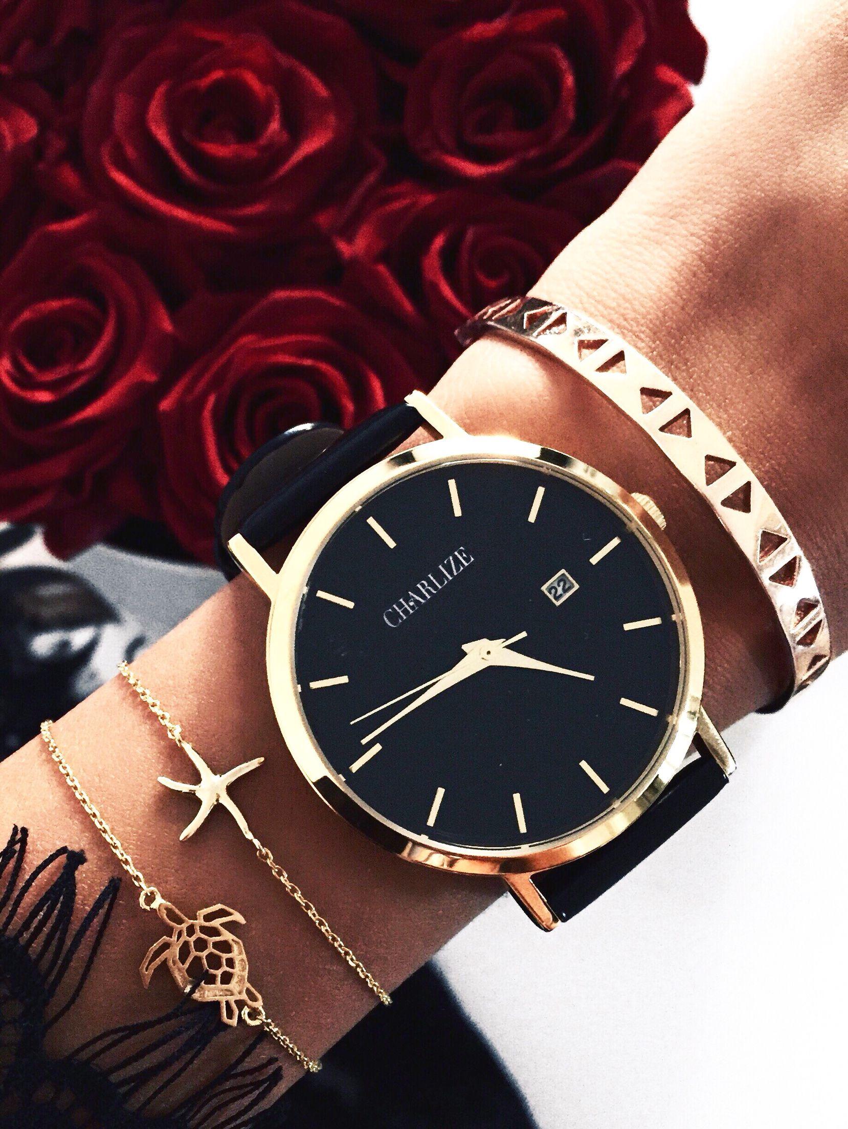 Minimal Fashion Watches Black Gold Jewelry Accessories