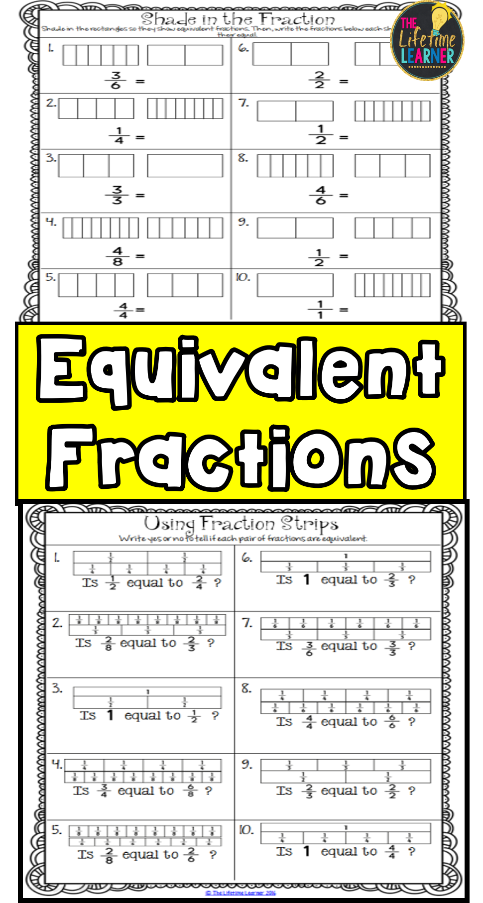 Equivalent Fractions Fraction Worksheets Activities Games