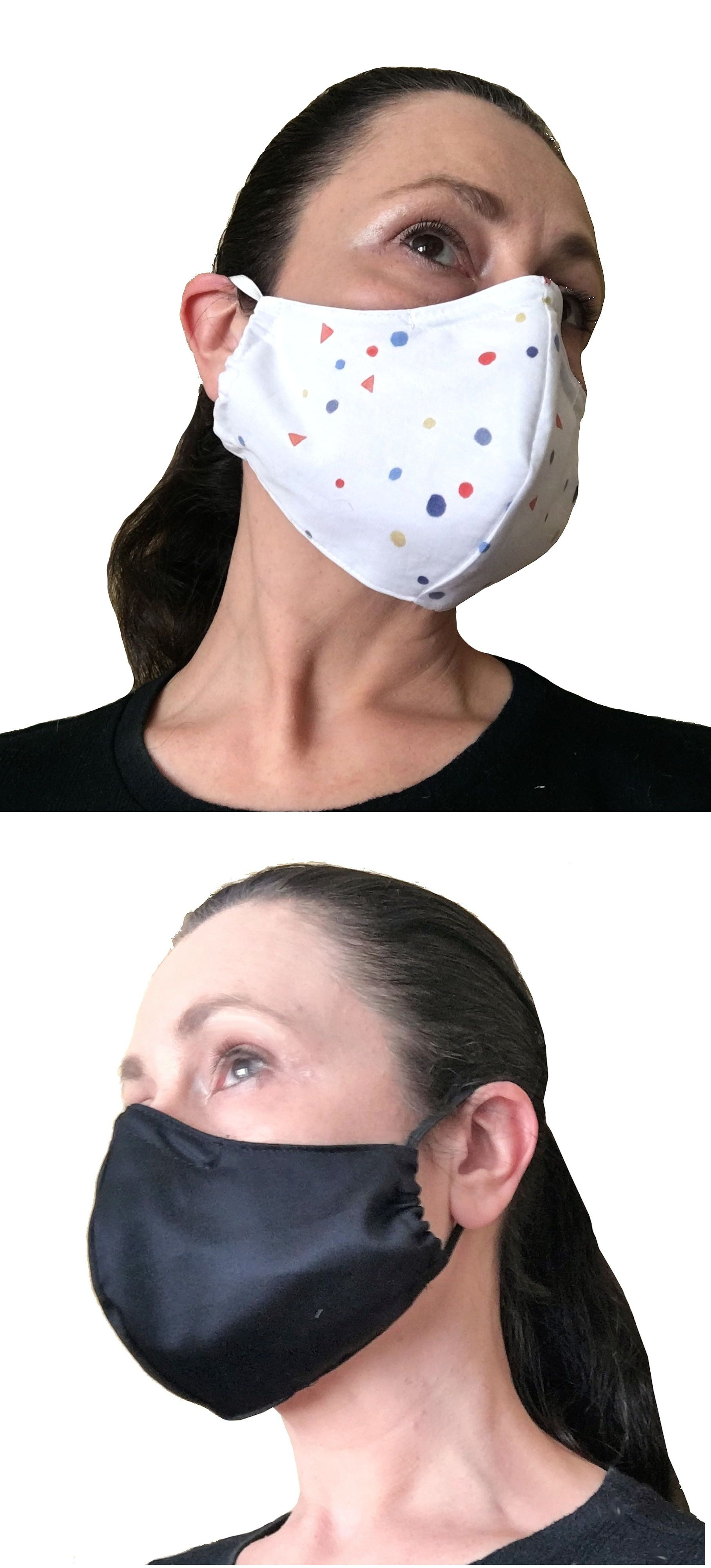 White Face Mask with Nose Wire and Filter Pocket Washable