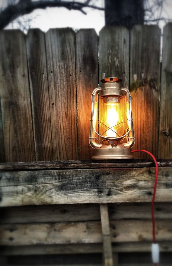 XL Lantern Lamp, Vintage Style Electric Lantern, Vintage Railroad Lantern,  Rustic Lantern Table