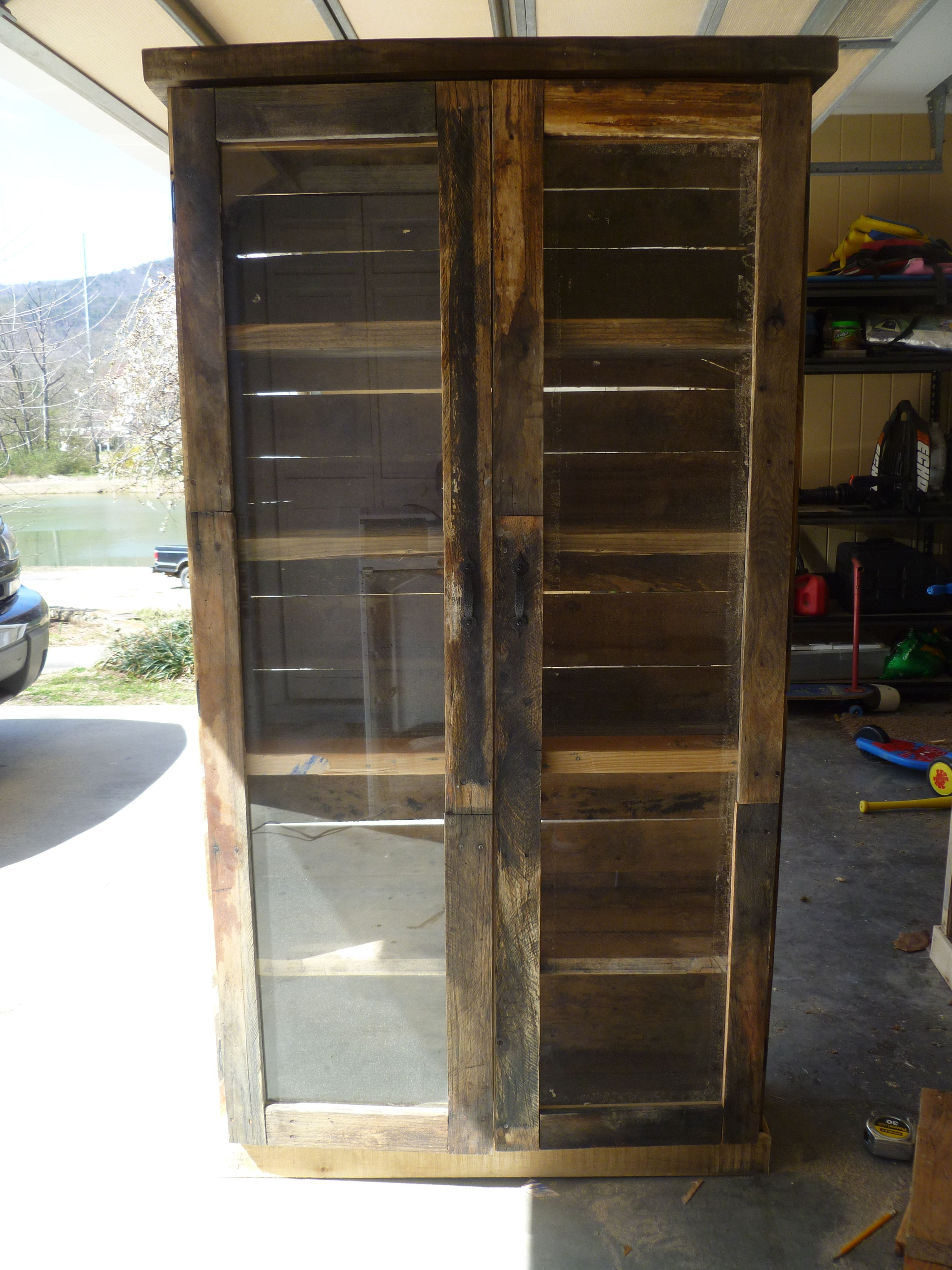 Pallet Bookcase With Glass Doors