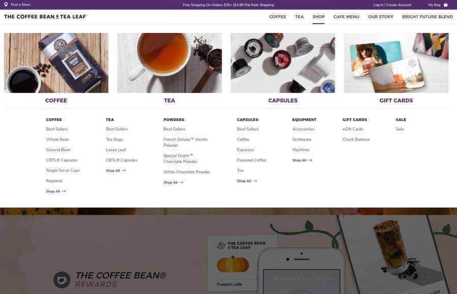 The Coffee Bean And Tea Leaf Dropdown Menu Design Tea Leaves Blended Coffee Menu Design