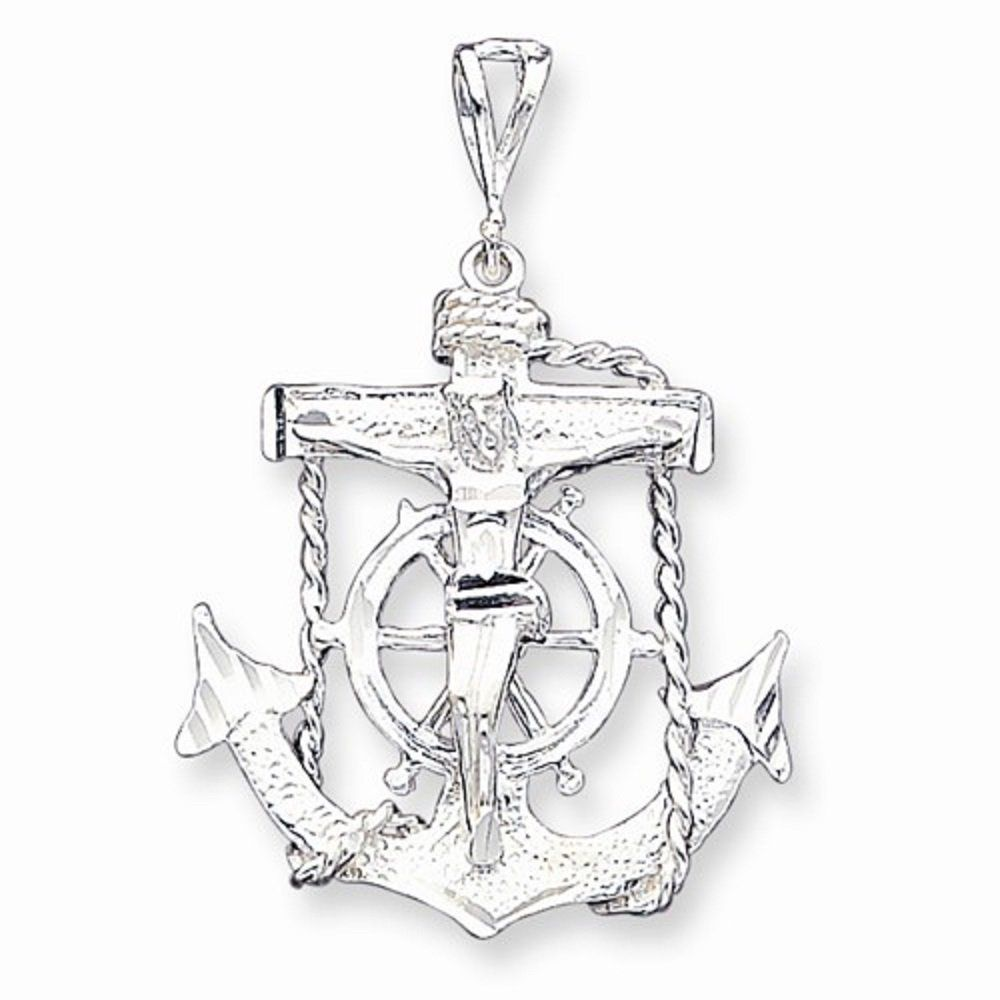 Sterling Silver Polished Anchor Heart and Cross Pendant New Religious Charm 925