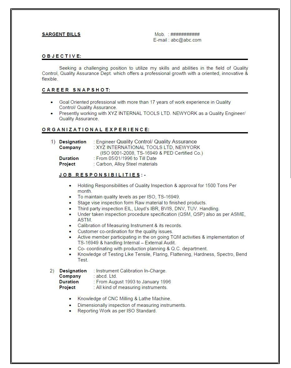 Quality Controller Cover Letter Resume Format For 1 Year Experienced Mechanical Engineer It