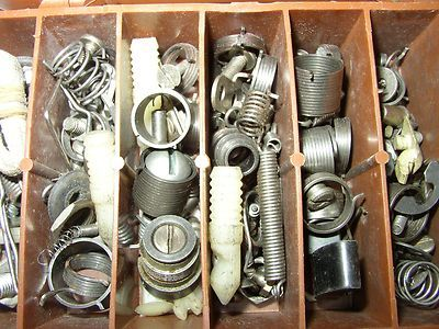 Box full of steampunk parts - springs, metal, bolts, screws - Great for a metal arts and crafts or mixed media art project.