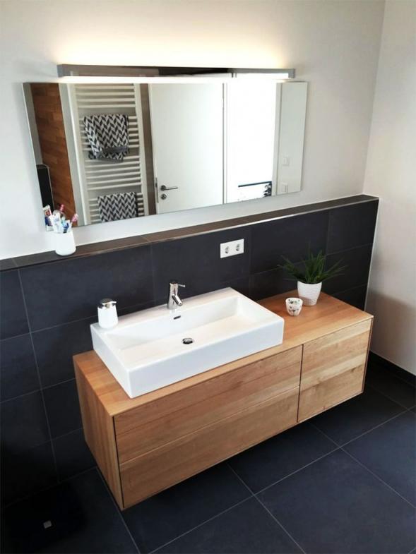 Waschtischunterschrank Aus Holz Modern Massiv Eiche Waschtisch Unterschrank Holz Hangend Gaste Wc Bad Schubkaste In 2020 Guest Bathrooms Guest Bathroom Bathroom Vanity