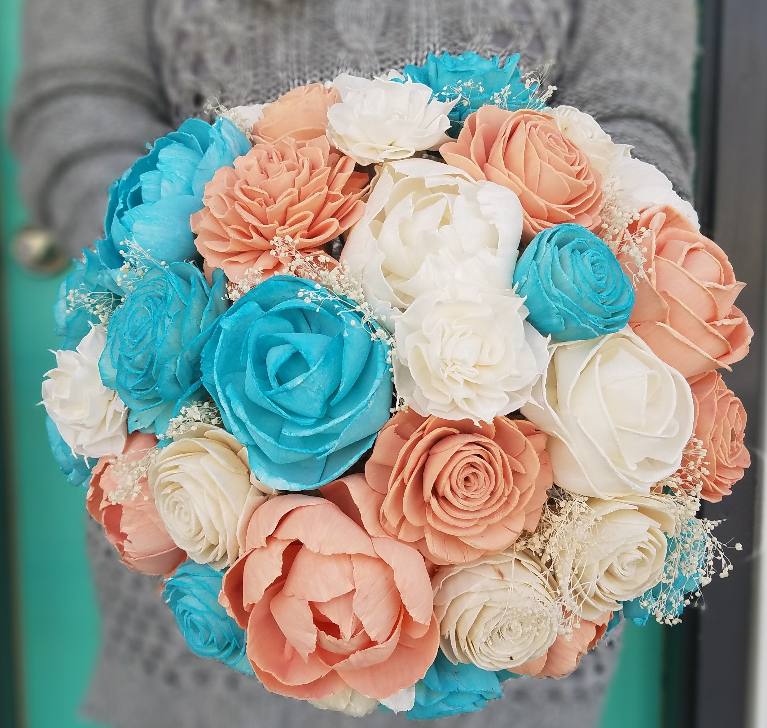 wood flowers sola flowers Navy and Coral Bouquet wood bouquet