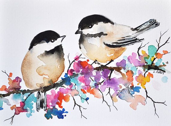 Original Watercolor Bird Painting 6x8 Inch Chickadee Illustration