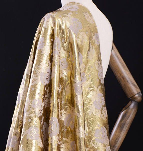 Filo d'oro seta Jacquard tessuto di cotone tessuto dorato di
