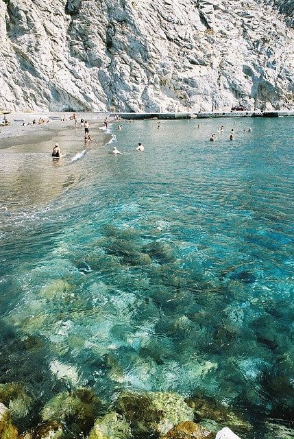 Perissa Beach, Santorini, Greece. the clearest water I ever did see. Can't wait to be in it!
