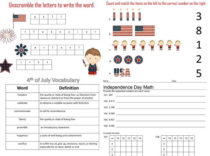 4th Of July Independence Day Clip Fun And Educational Activities And Printable Homeschool Math Work Math Addition Worksheets 2nd Grade Math Fun Education