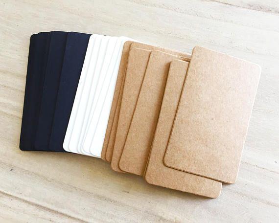 100 Pcs Blank Business Cards Black Brown Kraft White Stationery Paper Crafts Cardstock