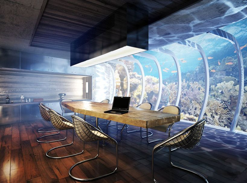 The Boardroom at 'water discus' Hotel underwater hotel, in the arabian gulf.