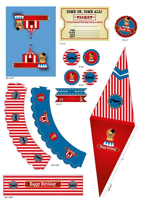 graphic regarding Circus Circus Coupons Printable named Circus Birthday Concept Printable Fastened - Birthday Hat - Popcorn