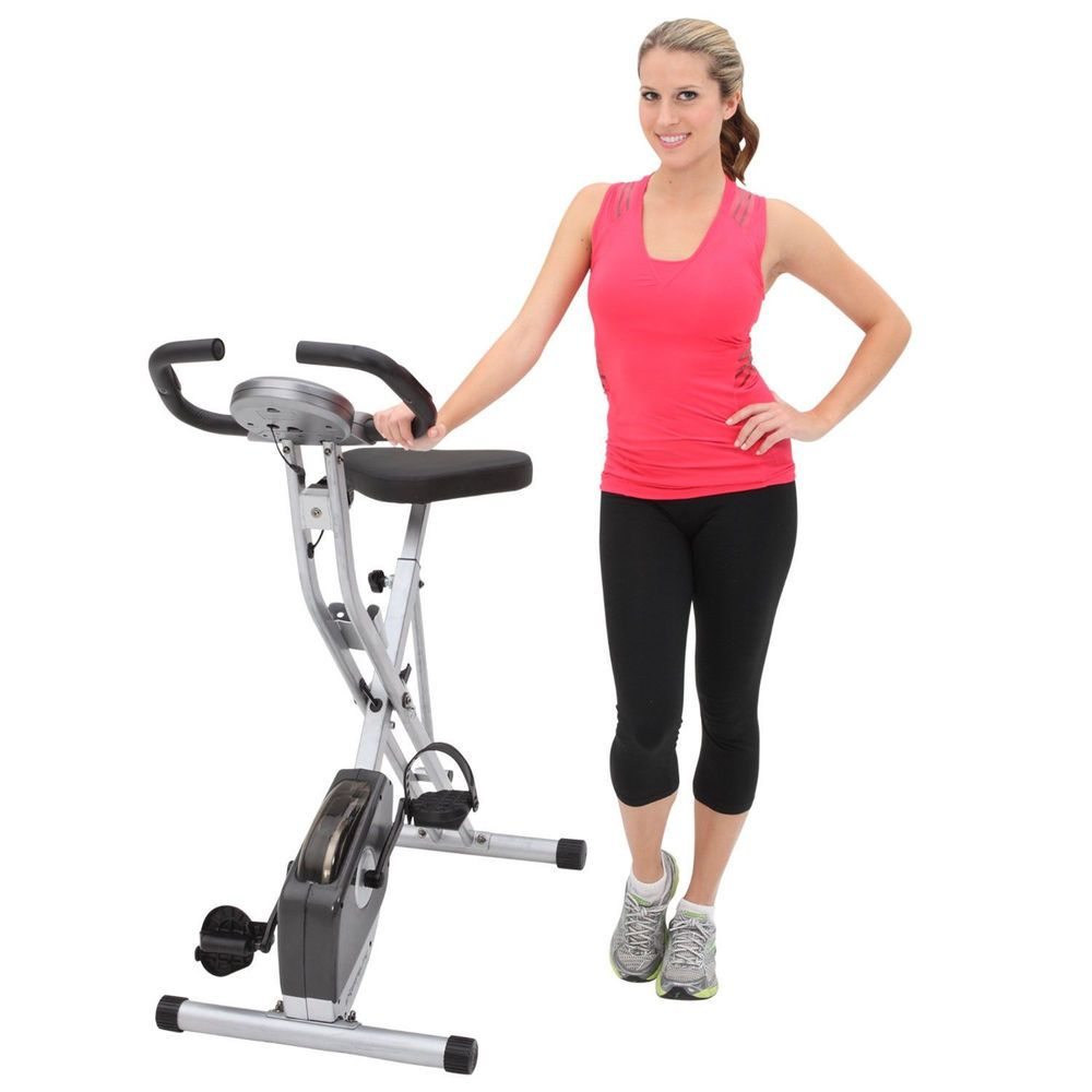 New Exerpeutic Folding Magnetic Upright Exercise Bike With Pulse