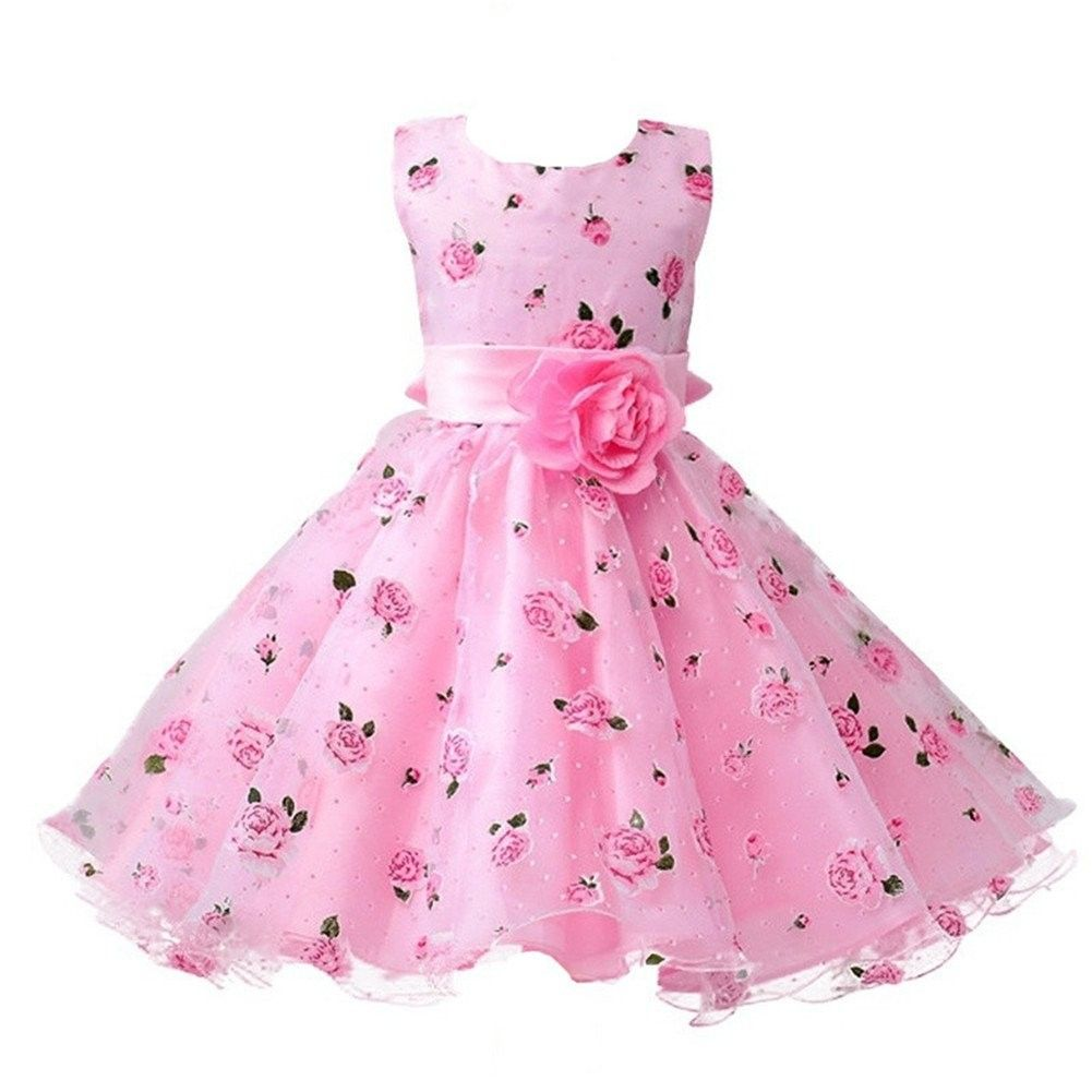 Baby Girls Party Special Occasion// Birthday Dress Floral Print Net with beads