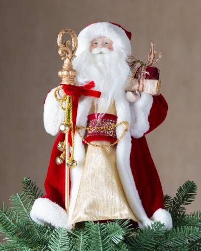 Santa Claus Mistletoe Red Glass Christmas Tree Topper 11 Inches