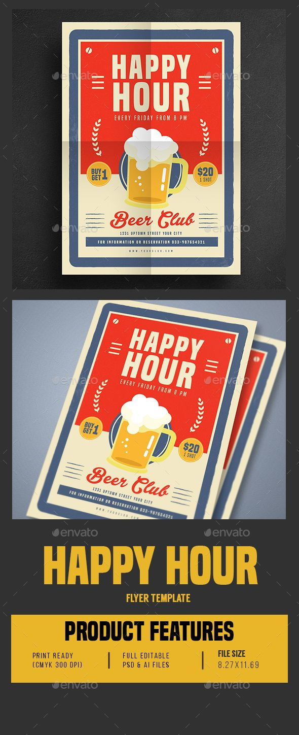 Retro Old Vintage Happy Hour Beer Promotion  Psd Flyer Templates