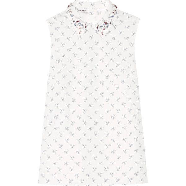 Miu Miu Crystal-embellished printed cotton-poplin shirt (€1.205) ❤ liked