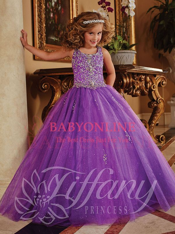 2014 Purple Long Little Girl\'s Pageant Dresses Cute Beaded Sequined ...