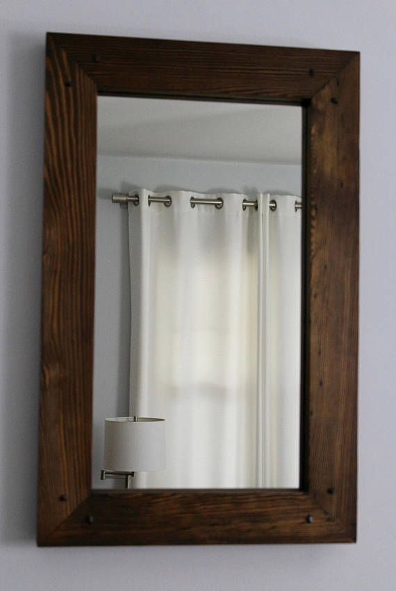 Rustic Reclaimed Wood Mirror 28x18 Distressed Frame Hallway Framed