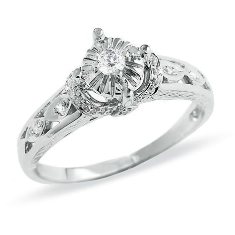 1 6 Ct T W Diamond Promise Ring In 10k White Gold