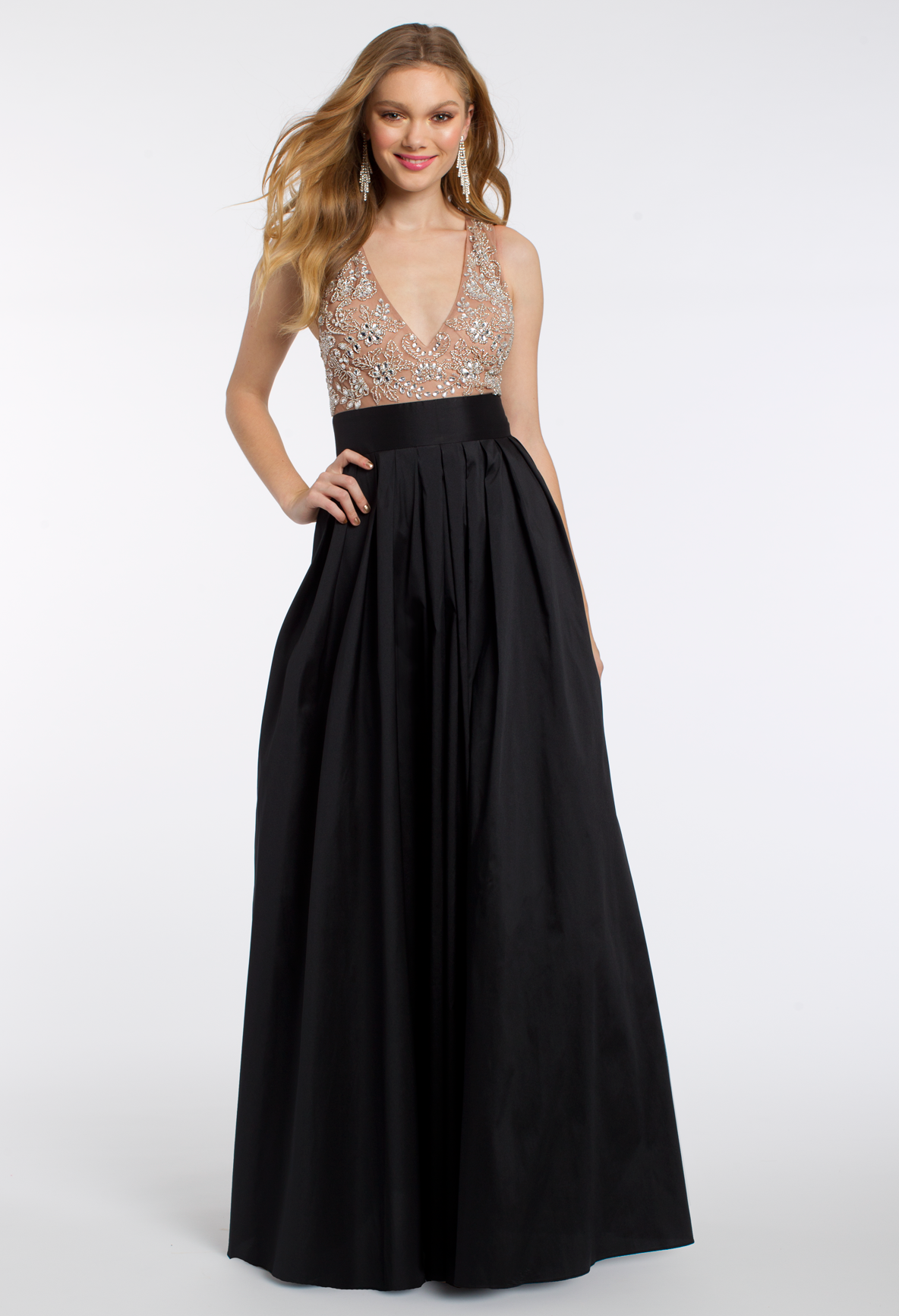 Go For Sophistication With This Ball Gown Dress The Beaded Neckline Ball Gown Style And Illusion Back Make Thi Chic Cocktail Dress Ball Gown Dresses Dresses [ 1732 x 1184 Pixel ]
