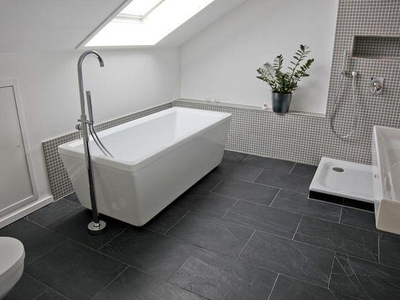 Bad Schwarze Fliesen Schiefer Badezimmer Badezimmer Dachschrage