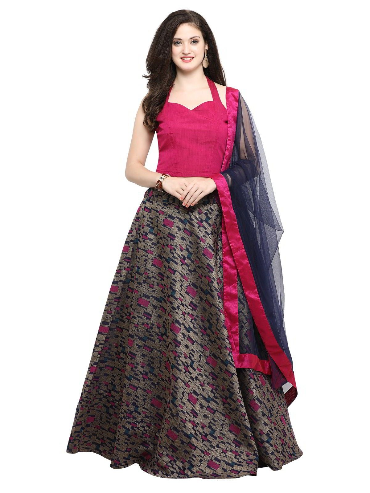 6e234295bc Classy pink partywear lehenga choli online for women which is crafted from  chanderi cotton fabric with
