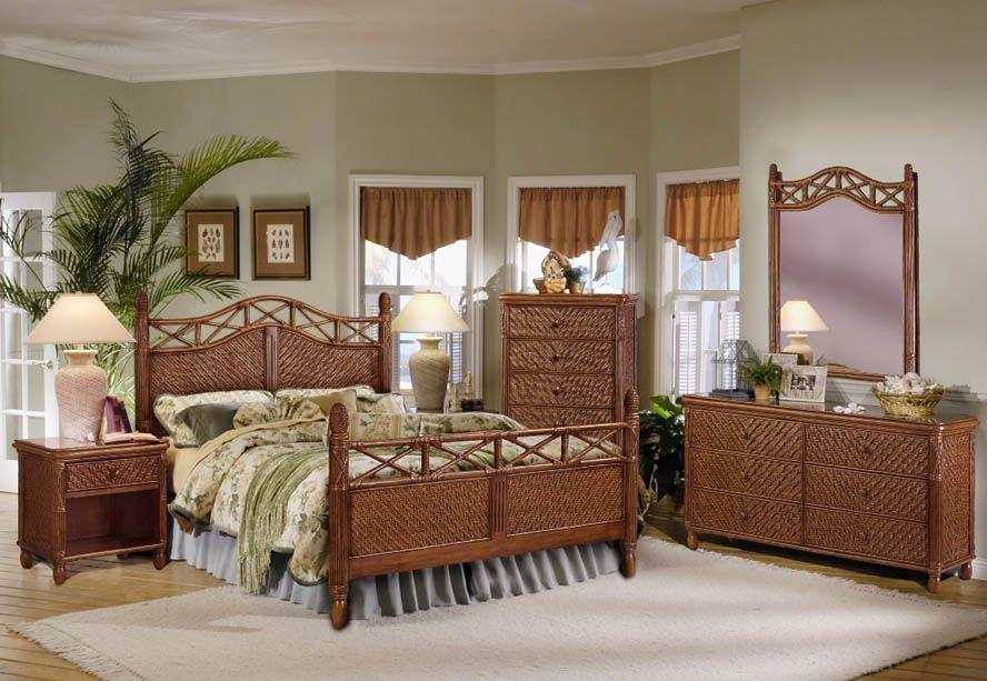 Jamaica Complete King Bed Wicker Bedroom Furniture Wicker