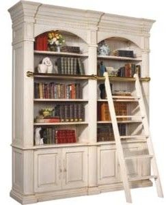 bordeaux double library unit with ladder traditional bookcases cabinets and computer armoires
