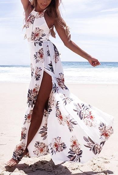 5279c2dc5eded Floral Print Halter Chiffon Maxi Dress | Clothes/style | Floral ...