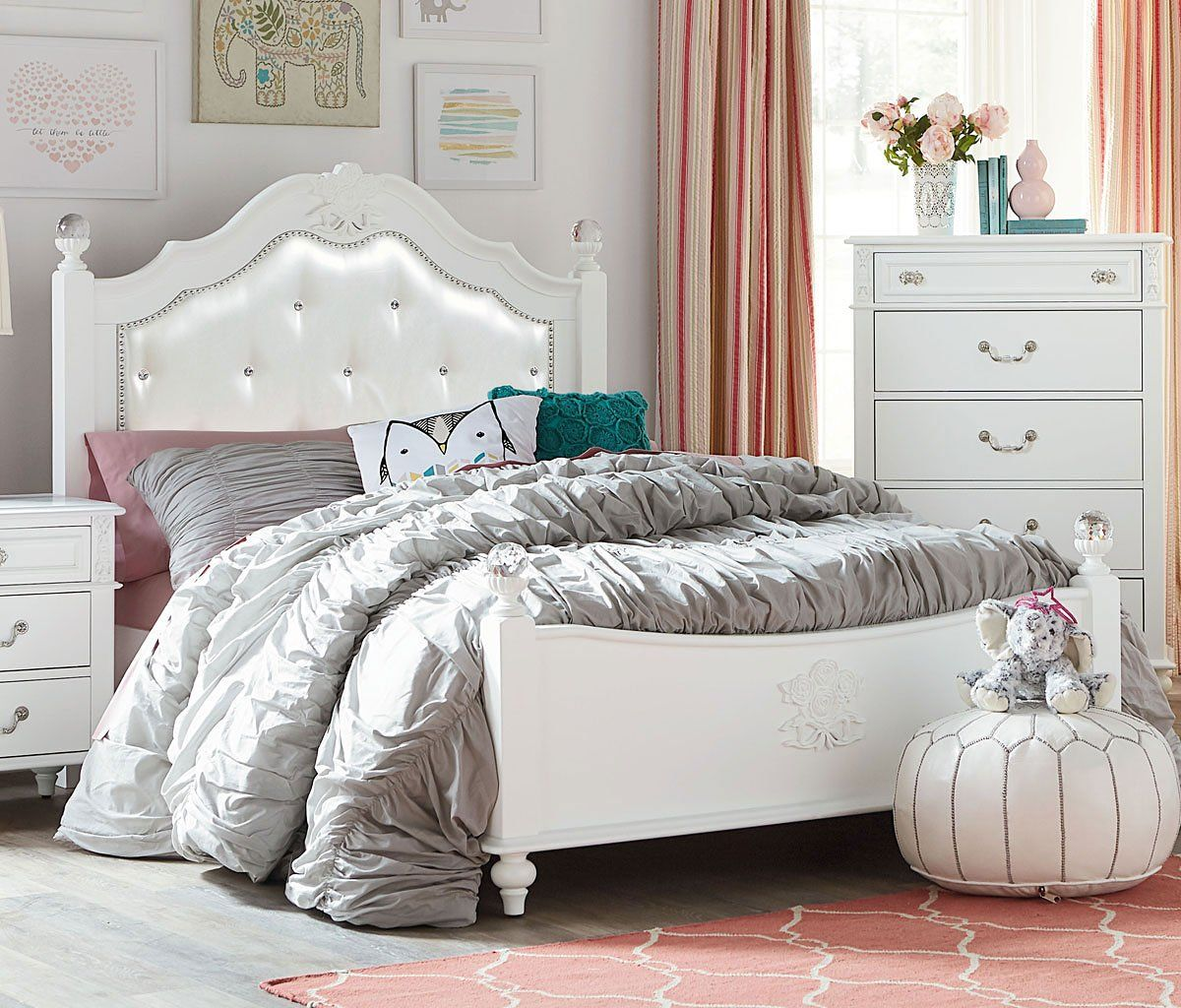 Olivia Youth Poster Bed Standard Furniture White Bedroom Set White Bedroom Set Furniture
