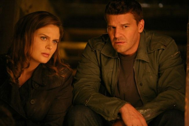 """Brennan (Emily Deschanel) and Booth (David Boreanaz) """"The Twist in the Twister"""" episode of BONES on FOX."""