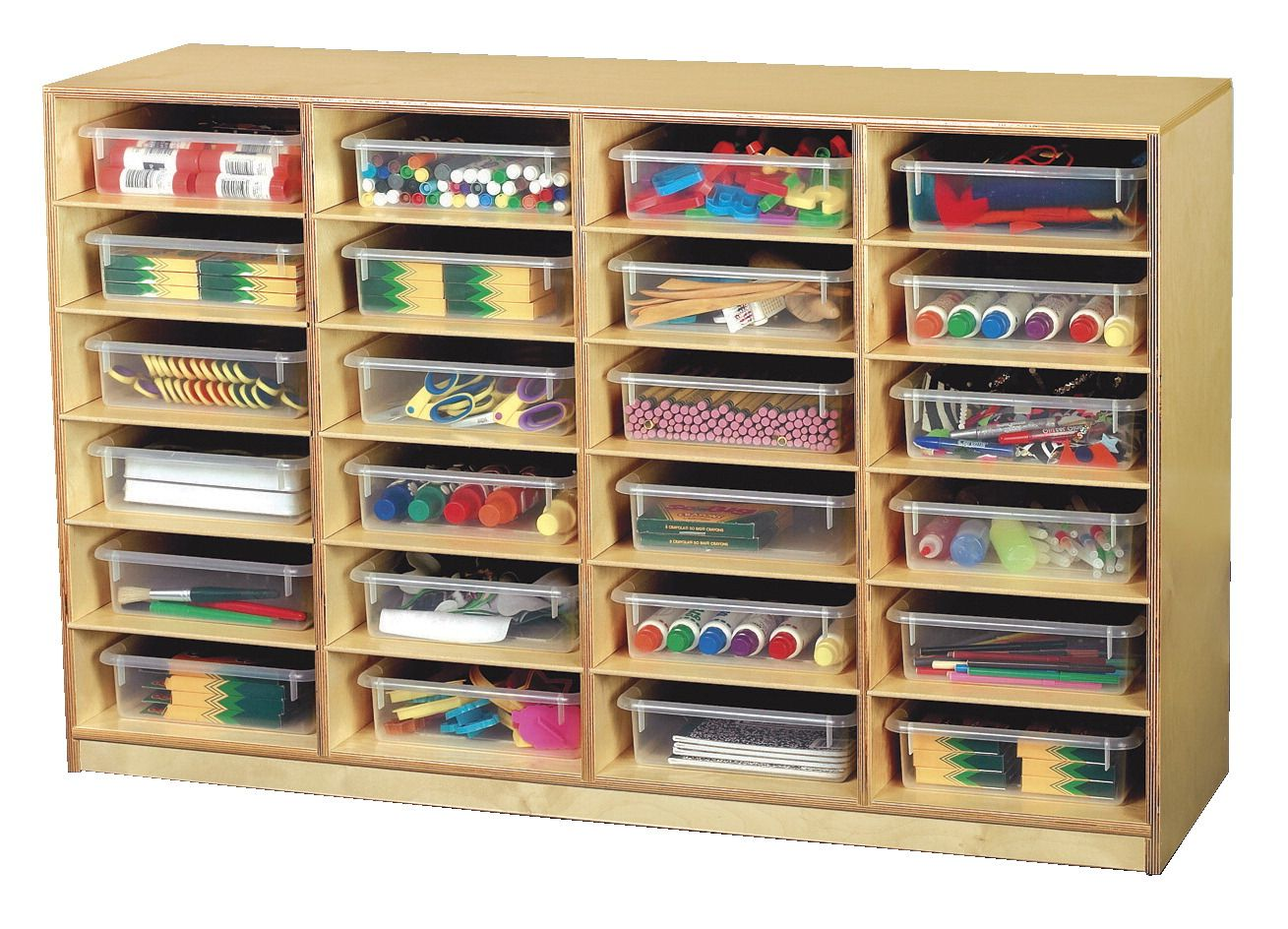 Childcraft Mobile 24 Flat Tray Cubby With Clear Trays, 47