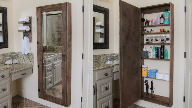 Full Length Mirrored Bathroom Cabinet. How A Full Length Mirror Becomes A Mix Of A Medicine Cabinet And A Full On