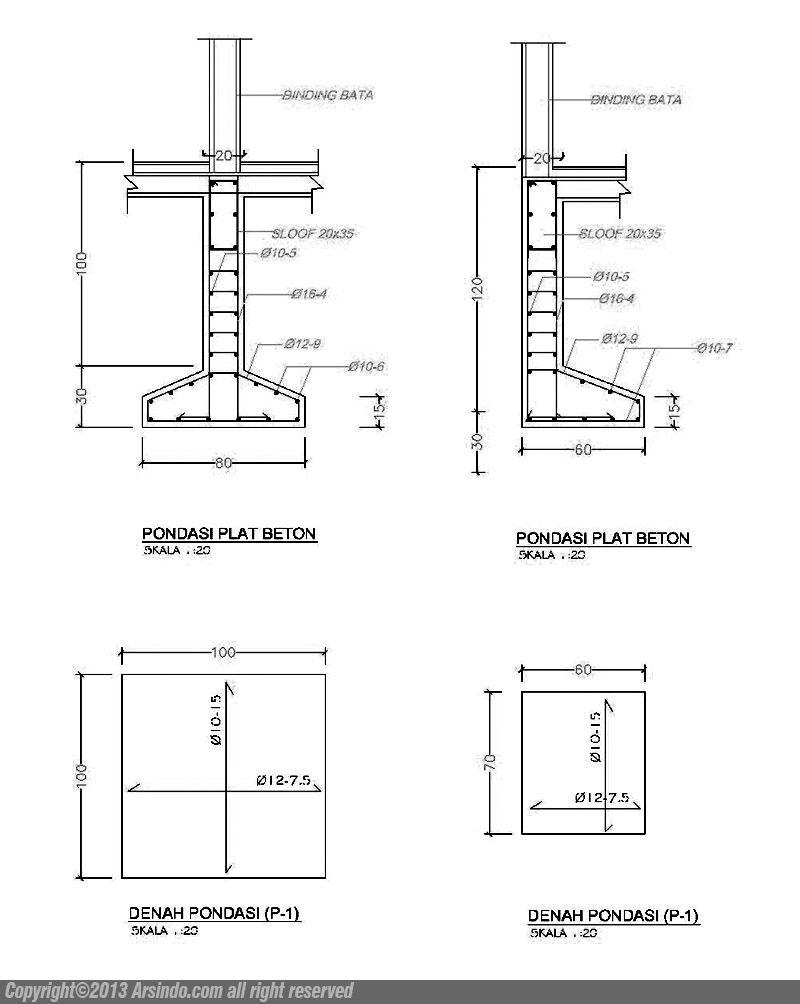 Detail Pondasi Telapak Dwg : detail, pondasi, telapak, Proyek