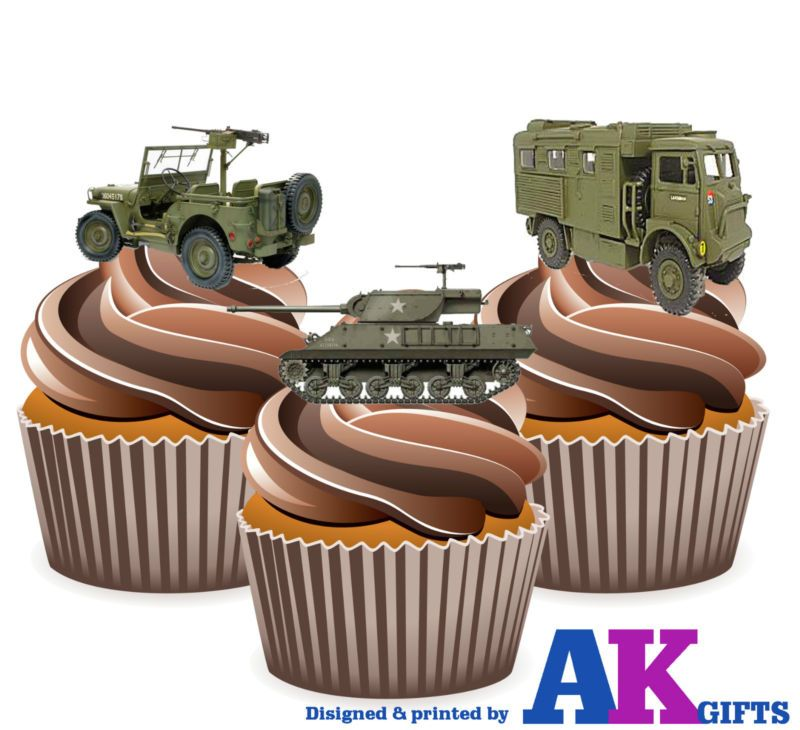 PRECUT Army Jeep Tank Lorry 12 Edible Cupcake Toppers Decorations