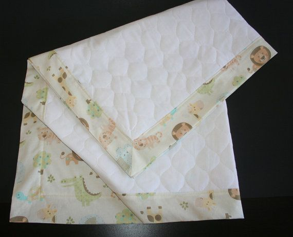 Neutral Baby Blanket with Quilted Front and Jungle by ZamiStudio