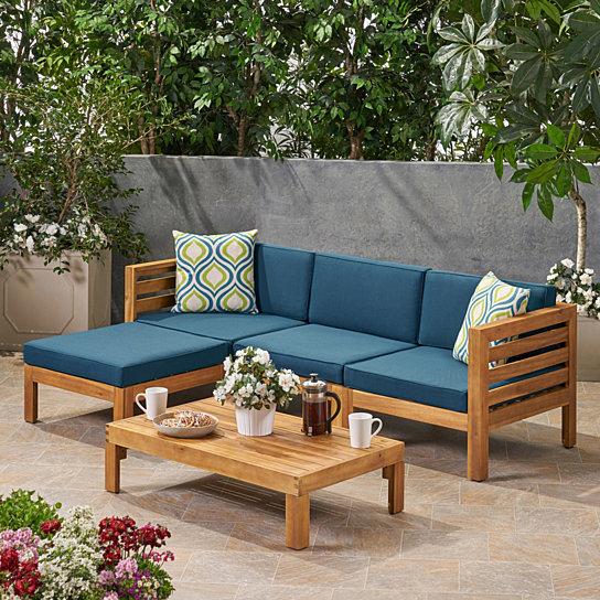 Alice Outdoor 5 Piece Acacia Wood Sofa Set Wood Sofa