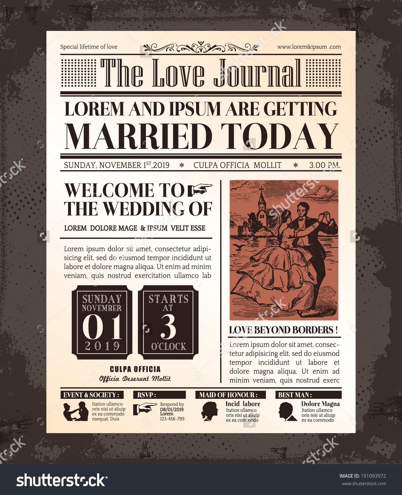 Httpimageutterstockzstock vector vintage newspaper stock vector of vintage newspaper wedding invitation card design vector art by kraphix from the collection istock get affordable vector art at thinkstock stopboris Image collections