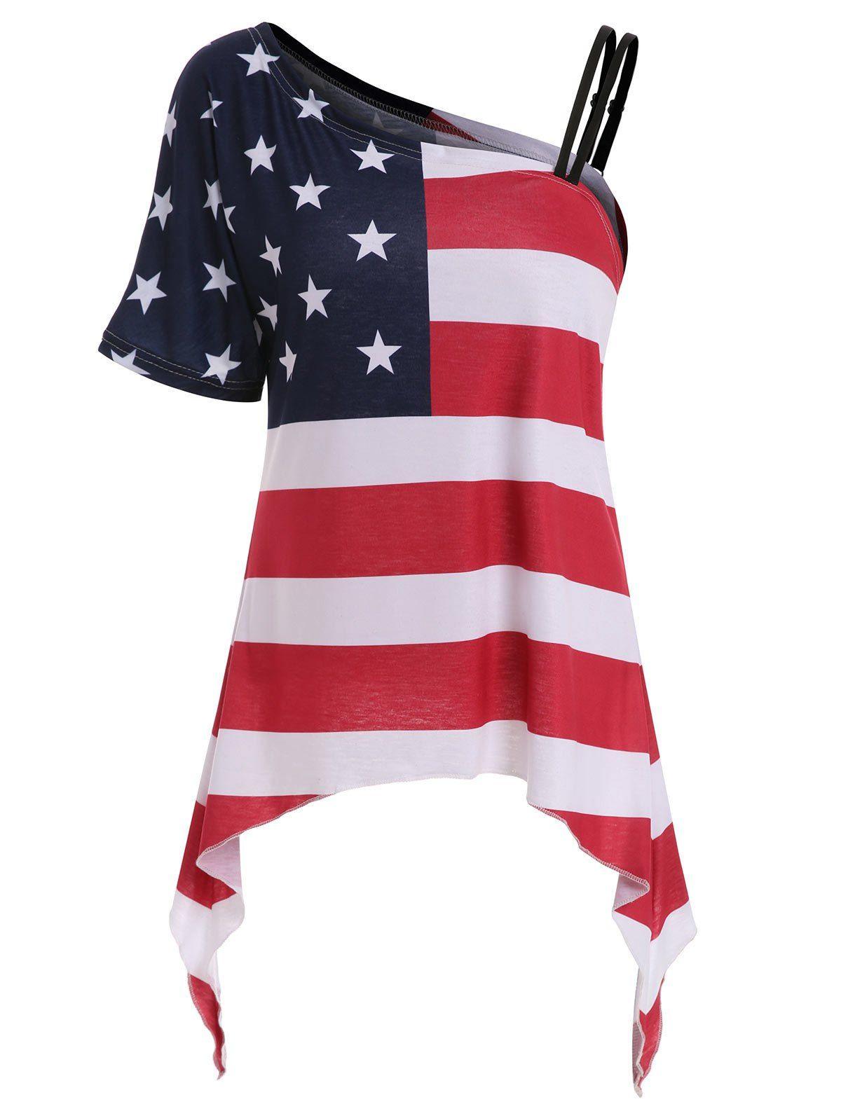 9 44 American Flag Print Asymmetrical Tee In White Sammydress Com American Flag Print Asymmetrical Tee American Flag Top