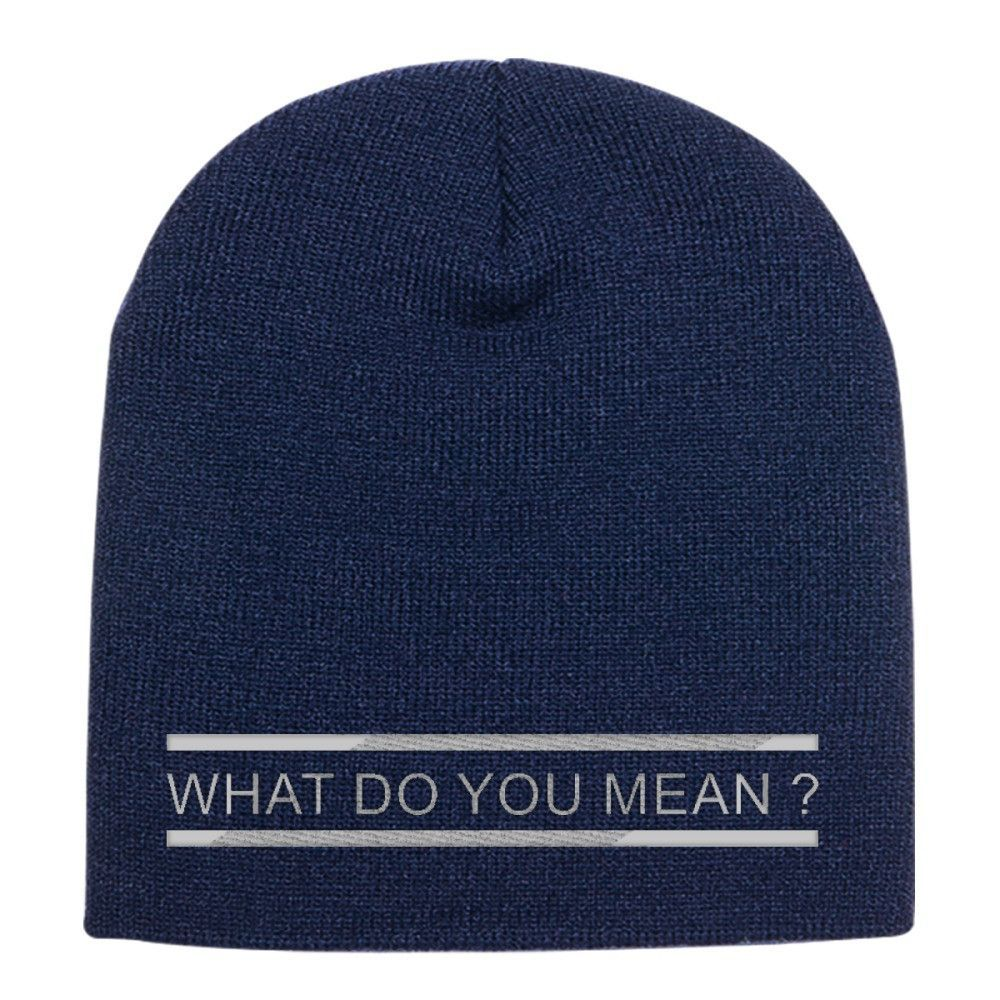 What Do You Mean ? Embroidered Knit Beanie