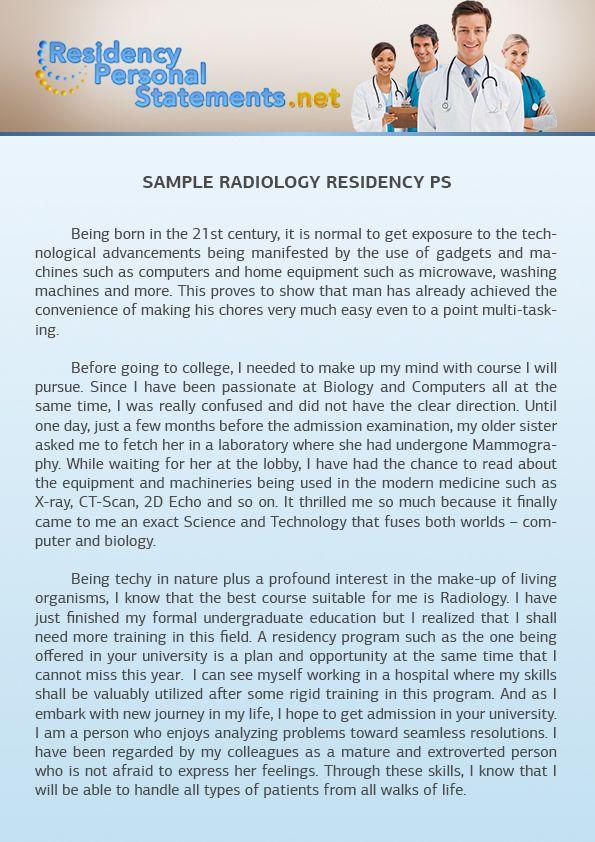 Radiology Residency Personal Statement Sample Radiology residency
