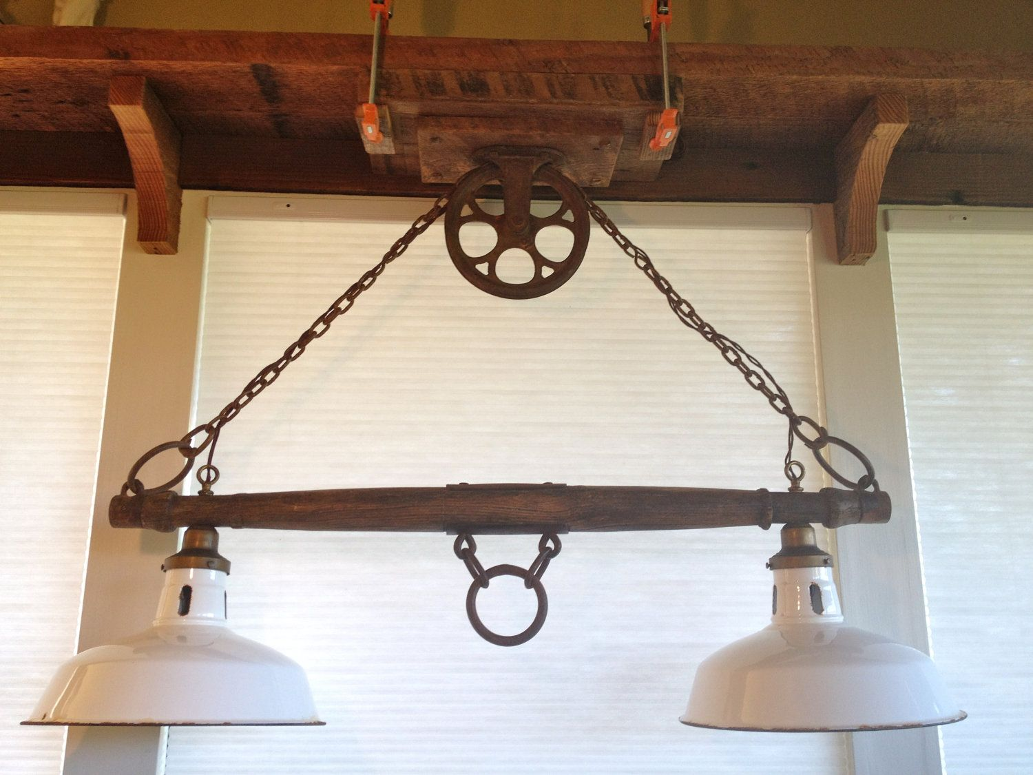 Rustic Kitchen Island Light Fixtures Kraft Cabinets Yoke Pulley For Over Daddy Can Diy With His