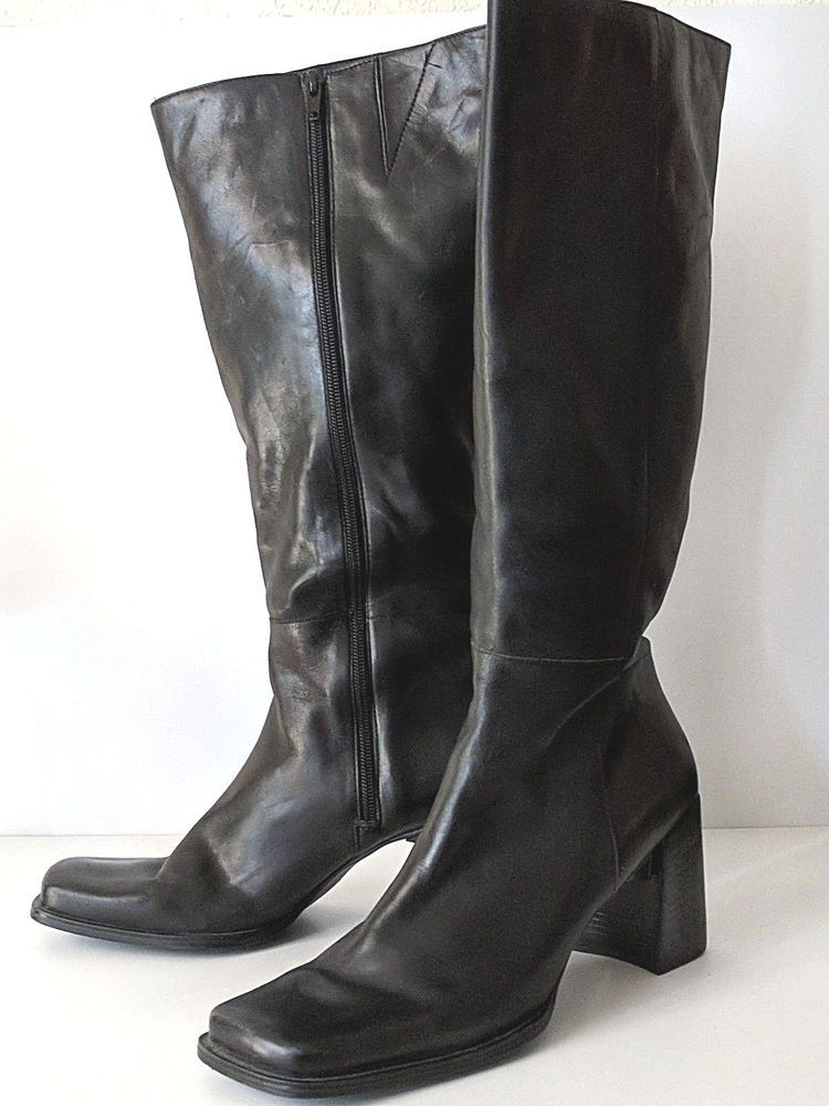 a4520ea1d3 Nine West Boots Knee High Square Toe Block Heel Black Leather Size 9.5 M # NineWest #KneeHighBoots